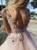 Ball Gown Pink Prom Dresses With Flowers and Beads