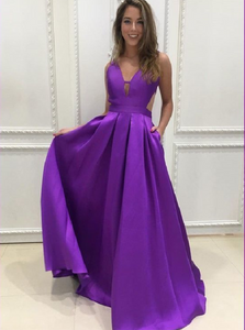 A Line V Neck Purple Satin Prom Dresses with Pleats
