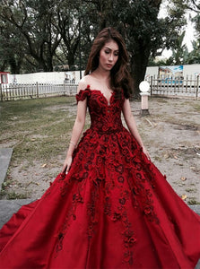 Ball Gown Off the Shoulder Satin Appliques Prom Dresses