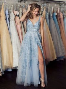 A Line V Neck Tulle Beadings Prom Dresses with Slit