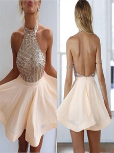 A Line Halter Sleeveless Backless Chiffon Prom Dresses