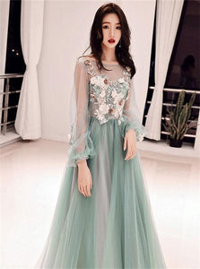 A Line Green Tulle Applique Long Prom Dresses