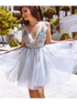 A Line V Neck Short Tulle Prom Dresses with Rhinestones LBQ1799
