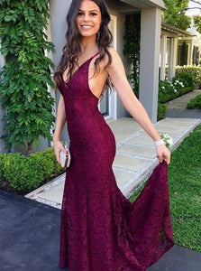 Burgundy Lace V Neck Mermaid Lace Up Prom Dresses