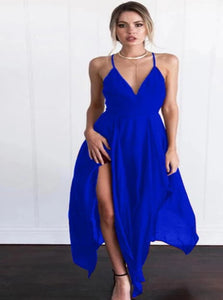A Line Spaghetti Straps Criss Cross Satin Prom Dresses  with Slit