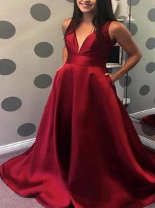 Deep V Neck Red Satin Prom Dress with Pockets