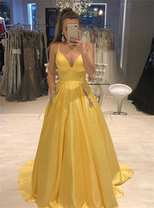 Yellow A Line V Neck Satin Sweep Train Prom Dresses with Pleats