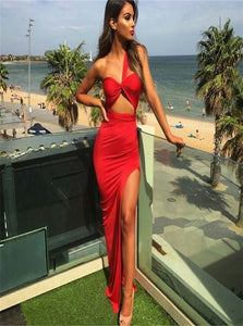 A Line One Shoulder Red Satin Prom Dresses with Slit