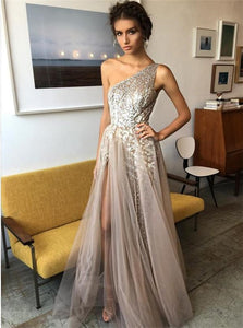 A Line One Shoulder Split Tulle Prom Dresses