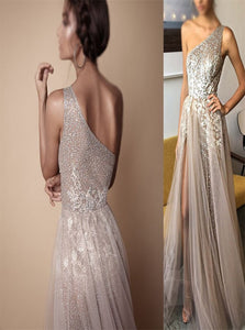 A Line One Shoulder Split Sequins Tulle Sleeveless Prom Dresses