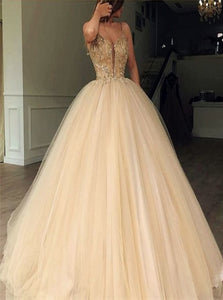 Ball Gown Sweep Train Sleeveless Tulle Prom Dresses with Beadings