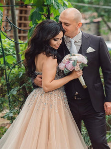 Sweetheart Champagne Tulle Prom Dresses with Rhinestones