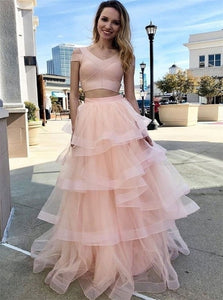 Pink Tulle Two Pieces Layered Short Sleeves Prom Dresses