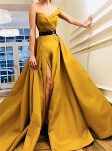 Sleeveless Yellow Prom Dresses with Sweep Train