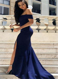 Off the Shoulder Navy Blue Mermaid Prom Dresses with Slit