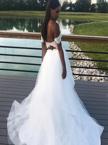 Off the Shoulder Tulle White Appliques Sweep Train Prom Dresses
