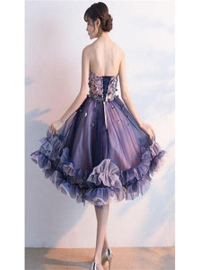 A Line Tulle Purple Appliques Sweetheart Lace Up Prom Dresses