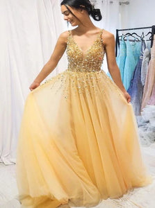 A Line V Neck Chiffon Yellow Sweep Train Prom Dresses