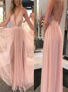 A line Floor Length Tulle Criss Cross Prom Dresses with Pleats