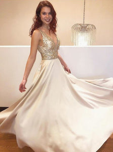 A Line V Neck Gold Beadings Satin Prom Dresses with Sweep Train