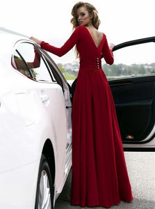 Deep V Neck Long Sleeves Burgundy Chiffon Prom Dresses with Split