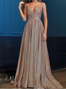 Spaghetti Straps Sequins Deep V Neck Sweep Train Prom Dresses