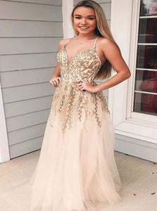 A Line V Neck Tulle Beading Prom Dresses with Appliques