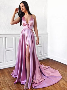 V Neck A Line Sweep Train Pink Prom Dresses with High Slit