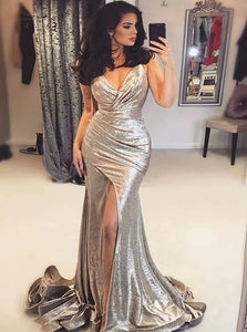V Neck Mermaid Pleated Silver Sweep Train Prom Dresses