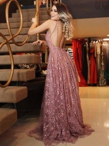 A Line Pink Lace Sweep Train Backless Prom Dresses