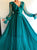 A Line V Neck Long Sleeves Prom Dresses with Sweep Train