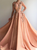 A Line V Neck Appliques Satin Orange Sweep Train Prom Dresses