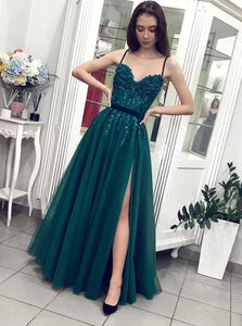 A Line Spaghetti straps Beaded  Green Tulle Prom Dresses With Split