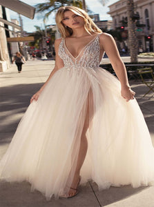 A Line Split Tulle Beadings V Neck Prom Dresses with Sweep Train