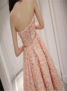 Cute Pink Floral Lace Short Sweetheart Sleeveless Prom Dresses