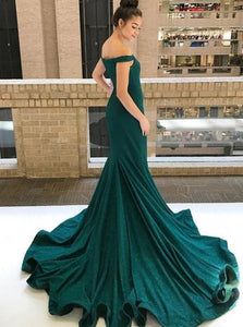Mermaid Off The Shoulder Sequined Green Prom Dresses with Sweep Train