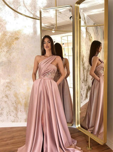 A Line Blush Pink Satin Slit Prom Dresses with Pockets