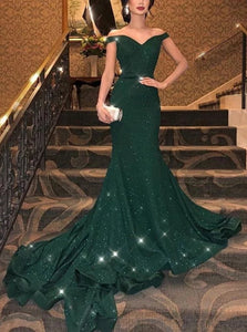 Mermaid Off The Shoulder Sequined Green Prom Dresses
