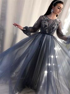 Long Sleeves Lace Appliques Tulle Sweep Train Prom Dresses