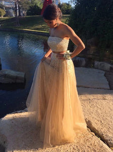 A Line Champagne Tulle Prom Dresses with Sweep Train