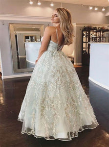 Ball Gown Tulle Lace Up Silver Prom Dresses