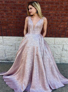 V Neck Ball Gown Satin Prom Dresses with Pleats