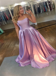 A Line Sweetheart Sleeveless Satin Pink Prom Dresses