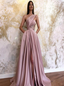A Line Satin Lace Up Prom Dress with Sweep Train