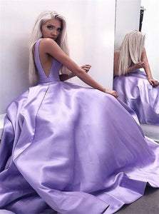 A Line V Neck Open Back Lilac Prom Dresses with Pleats