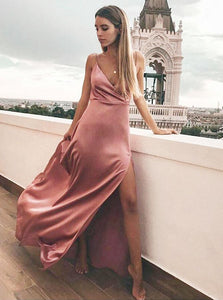 Sheath V Neck Floor Length Pink Satin Prom Dresses with Split
