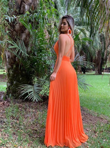 A Line Spaghetti Straps Orange Tulle Prom Dresses with Pleats