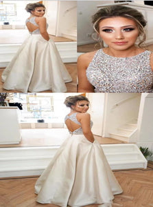 A Line Silver Satin Prom Dresses with Beadings