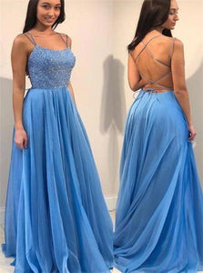 A Line Lace Up Satin Prom Dresses With Beadings