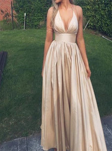 A Line Deep V Neck Satin Prom Dresses with Pleats